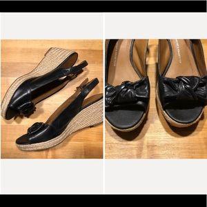 Franco Sarto   Camino Wedge Black Sandals Size 9